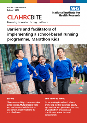 Barriers and facilitators of implementing a school-based running programme, Marathon Kids