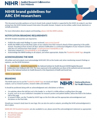 NIHR brand guidelines for ARC EM researchers