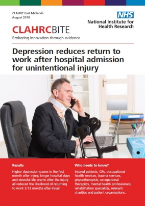 Depression reduces return to work after hospital admission for unintentional injury