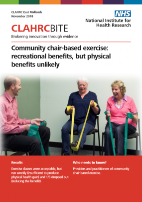 Community chair-based exercise: recreational benefits, but physical benefits unlikely